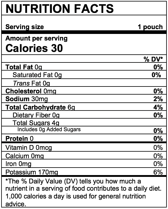 Nutrition Facts Mango Peach Carrot